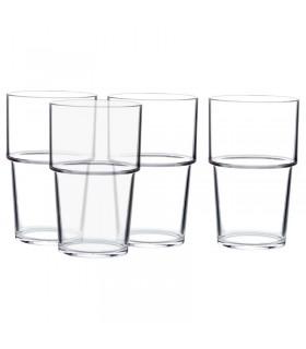 لیوان پلاستیکی شفاف ایکیا مدل VAKEN ست 4 تایی