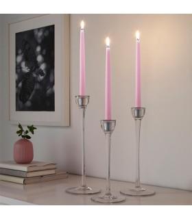 شمع ایکیا مدل KLOKHET بسته 8 تایی صورتی روشن